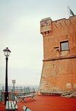 GENOA-NERVI ITALIEN Detalj av det Gropallo tornet som byggs i 16then-ce Royaltyfria Foton