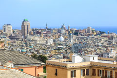 Genoa old city view from above. Horizontal royalty free stock image