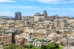 Genoa old city view. From above horizontal royalty free stock image
