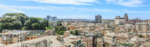 Genoa old city view. From above horizontal royalty free stock images