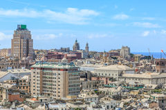 Genoa old city view. From above horizontal stock image