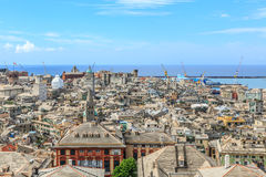 Genoa old city view. From above horizontal stock photos