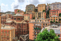 Genoa old city view. From above horizontal stock photography