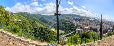 Genoa old city view from the mountain. Horizontal stock images