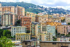 Genoa old city view. From the mountain horizontal stock photo