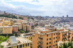 Genoa old city view from the mountain. Horizontal royalty free stock photography