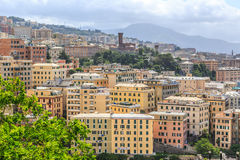 Genoa old city view from the mountain. Horizontal royalty free stock photo