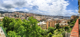 Genoa old city view. From the mountain horizontal stock image