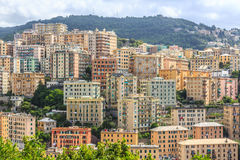 Genoa old city view from the mountain. Horizontal stock photography