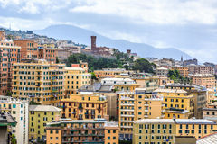 Genoa old city view from the mountain. Horizontal stock image