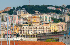 Genoa. Old quarters. View of old houses on the hill in the historic part of Genoa stock photos