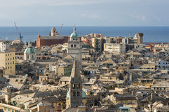 Genoa, old town. The characteristic old houses in Genoa stock photo