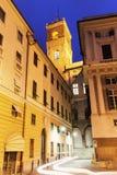 Genoa Old Town street at night. Genoa, Liguria, Italy stock photography