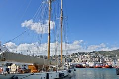 Genoa. sailboat moored in port royalty free stock image
