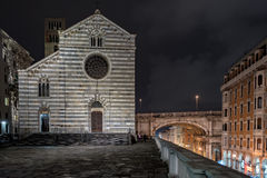 Genoa santo stefano church at night Royalty Free Stock Photos