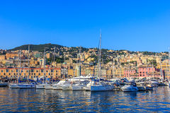Genoa, Italy, sea port with ships and yachts Stock Images