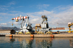 Genoa seaport - Cranes Stock Image