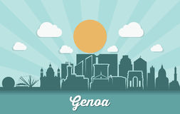 Genoa skyline - Italy - vector illustration. Genoa skyline - Italy - Europe city Royalty Free Stock Images