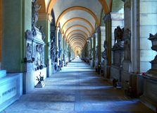 Staglieno cemetery, the art realm. Genoa, Staglieno. The monumental cemetery is famous for its statues,  artistic graves and classical architecture. The tunnels royalty free stock photography