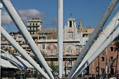 Genoa. The upper road and the BIGO royalty free stock images