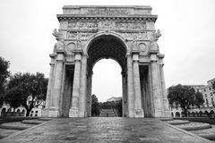 Genoa victorty place arc in black and white Royalty Free Stock Images