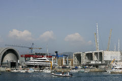 Genoa. View of the commercial port of Genoa, the picture shipyards Amico Stock Image