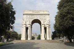 Genoa,  Vittoria square. Genoa,  Vittoria squre, the Arc de Triomphe, the monument to the fallen of World War Stock Photos