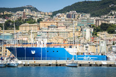 Genoa waterfront and city buildings in bright sunshine Stock Images