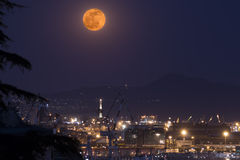 Genoas lanterna under full moon Stock Photography