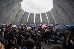 Genocídio armênio 24 de abril de 2015 complexo memorável Armênia, Yerevan Fotografia de Stock Royalty Free