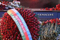 Genocide inscribed on the monument to victims of the Khojaly massacre Stock Images