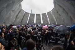 Genocidio armenio 24 de abril de 2015 complejo conmemorativo Armenia, Ereván Fotografía de archivo libre de regalías