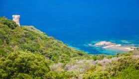 Genoese Campanella tower, Corsica island. Cupabia bay and ancient coastal Genoese Campanella tower, Corsica island, France Royalty Free Stock Photo