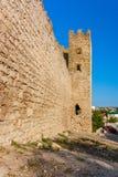 Genoese fästning i staden av Feodosia Arkivfoto