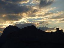 Genoese Festung auf Sonnenuntergang, Krim Stockbilder