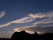 Genoese Festung bei Sonnenuntergang Lizenzfreies Stockfoto