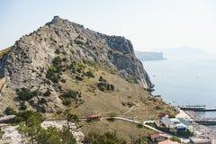 Genoese Festung in der Stadt von Sudak Stockbilder