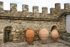 Genoese Festung in der Stadt von Sudak Lizenzfreie Stockfotos