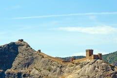 Genoese Festung gleich nach der Dämmerung. Stockfotos