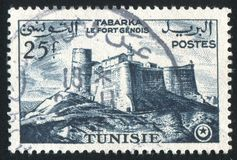 Genoese fort. TUNISIA - CIRCA 1954: stamp printed by Tunisia, shows Genoese fort, Tabarka, circa 1954 royalty free stock photos