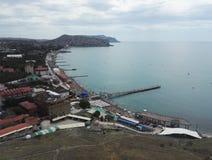 Genoese fortres Sudak Black Sea royaltyfri fotografi