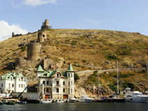 Genoese fortress Cembalo and Balaklava town, Crimea Royalty Free Stock Photos