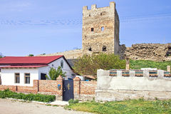 Genoese fortress and church building are in Feodosiya Royalty Free Stock Photo