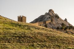 Genoese fortress in the city of Sudak Royalty Free Stock Photography