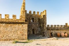 Genoese fortress in the city of Sudak Royalty Free Stock Images