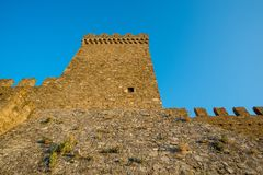 Genoese fortress in the city of Sudak Royalty Free Stock Photo