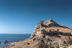 Genoese fortress in Crimea on a rock on the shore of the Black Sea Royalty Free Stock Photo