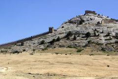 Genoese fortress in Crimea, Sudak stock photography