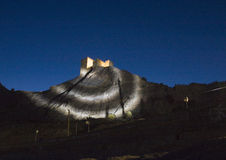 Genoese fortress illuminated at night Royalty Free Stock Image