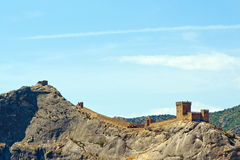 Genoese fortress just after the dawn. Stock Photos